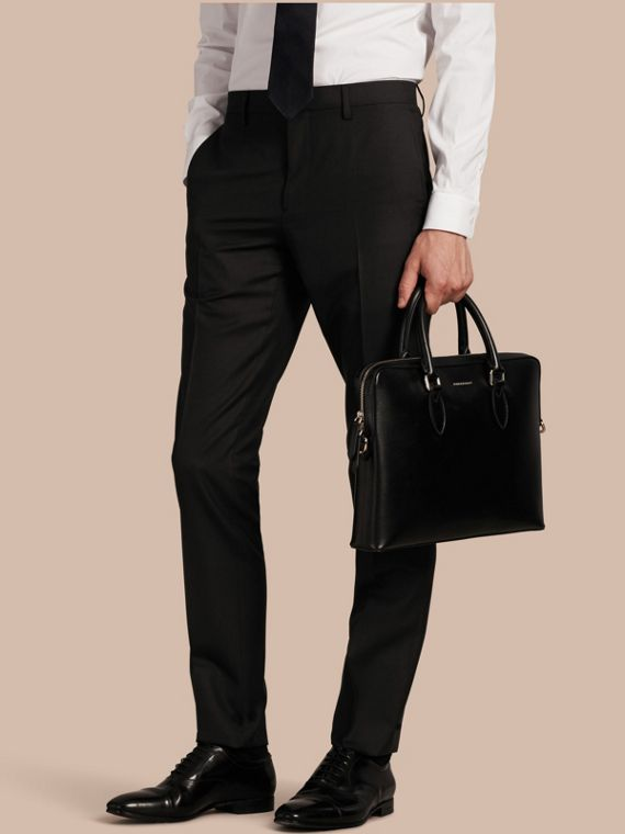 Slim Fit Wool Trousers Black