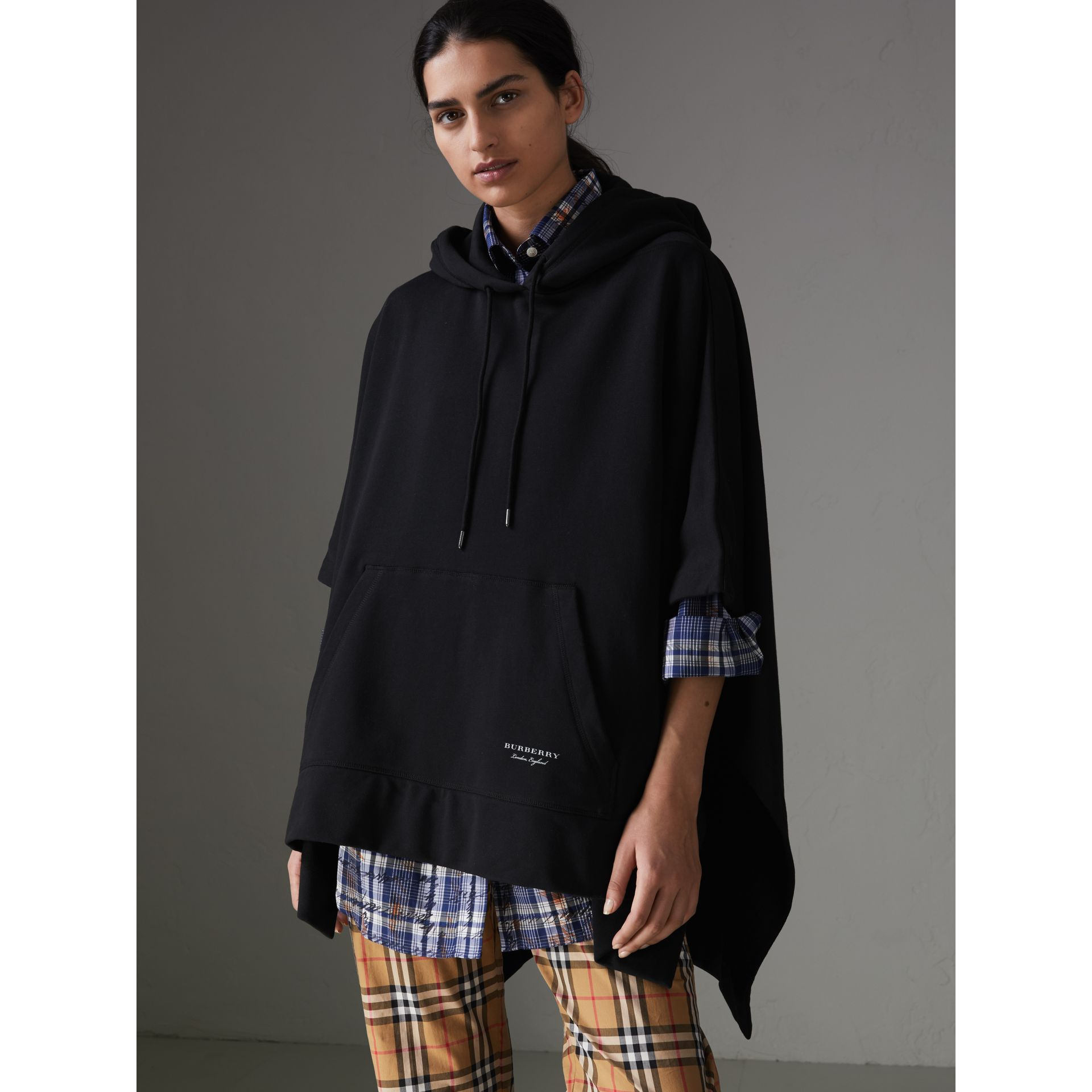 Cotton Jersey Hooded Cape in Black - Women | Burberry - gallery image 4