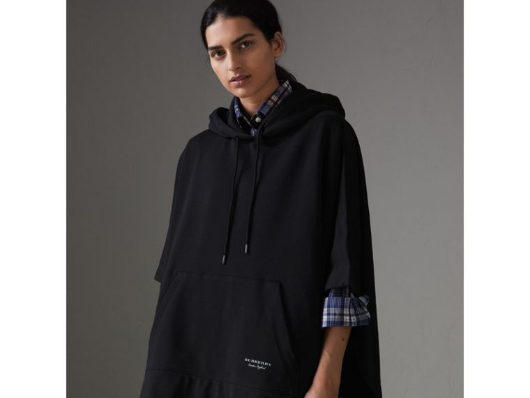 Cotton Jersey Hooded Cape in Black - Women | Burberry Australia - cell image 4