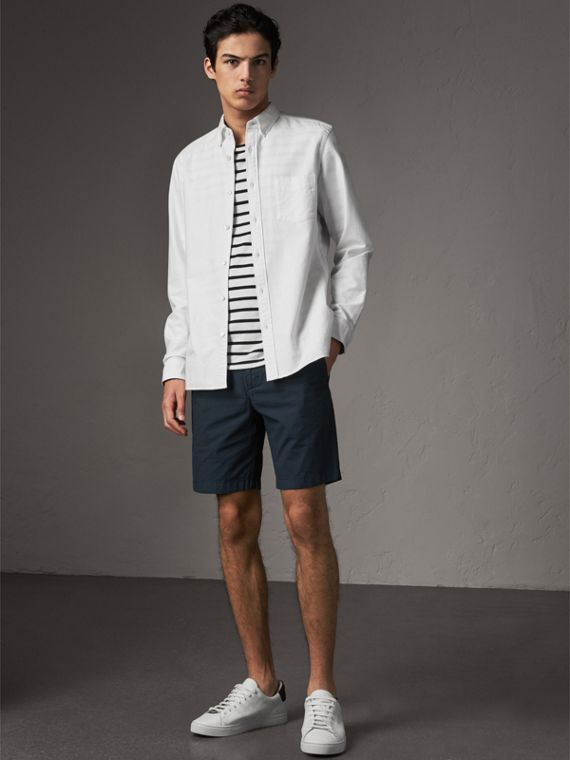 Cotton Poplin Chino Shorts in Indigo