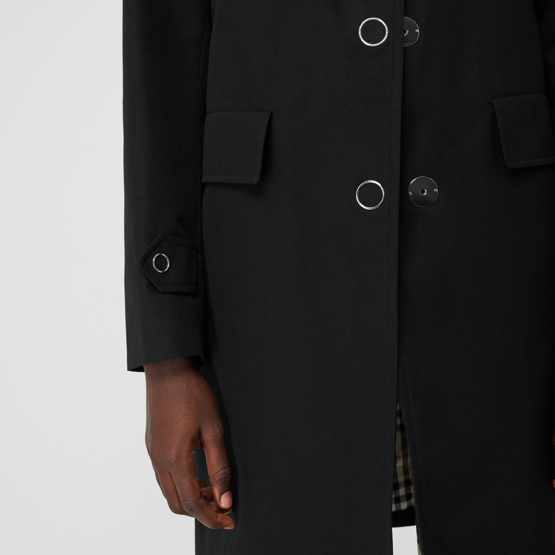 Press-stud Detail Cotton Gabardine Car Coat in Black - Women | Burberry - gallery image 5