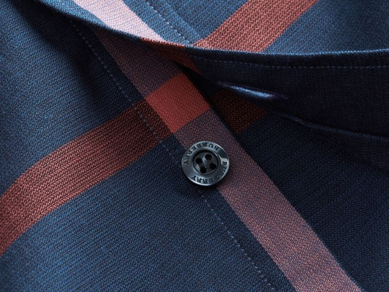 Button-down Collar Short-sleeve Check Cotton Shirt in Ink Blue - cell image 1
