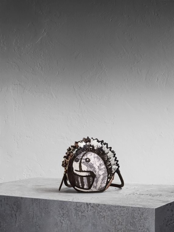 Leather and Snakeskin Pallas Head Shoulder Bag in Black/white