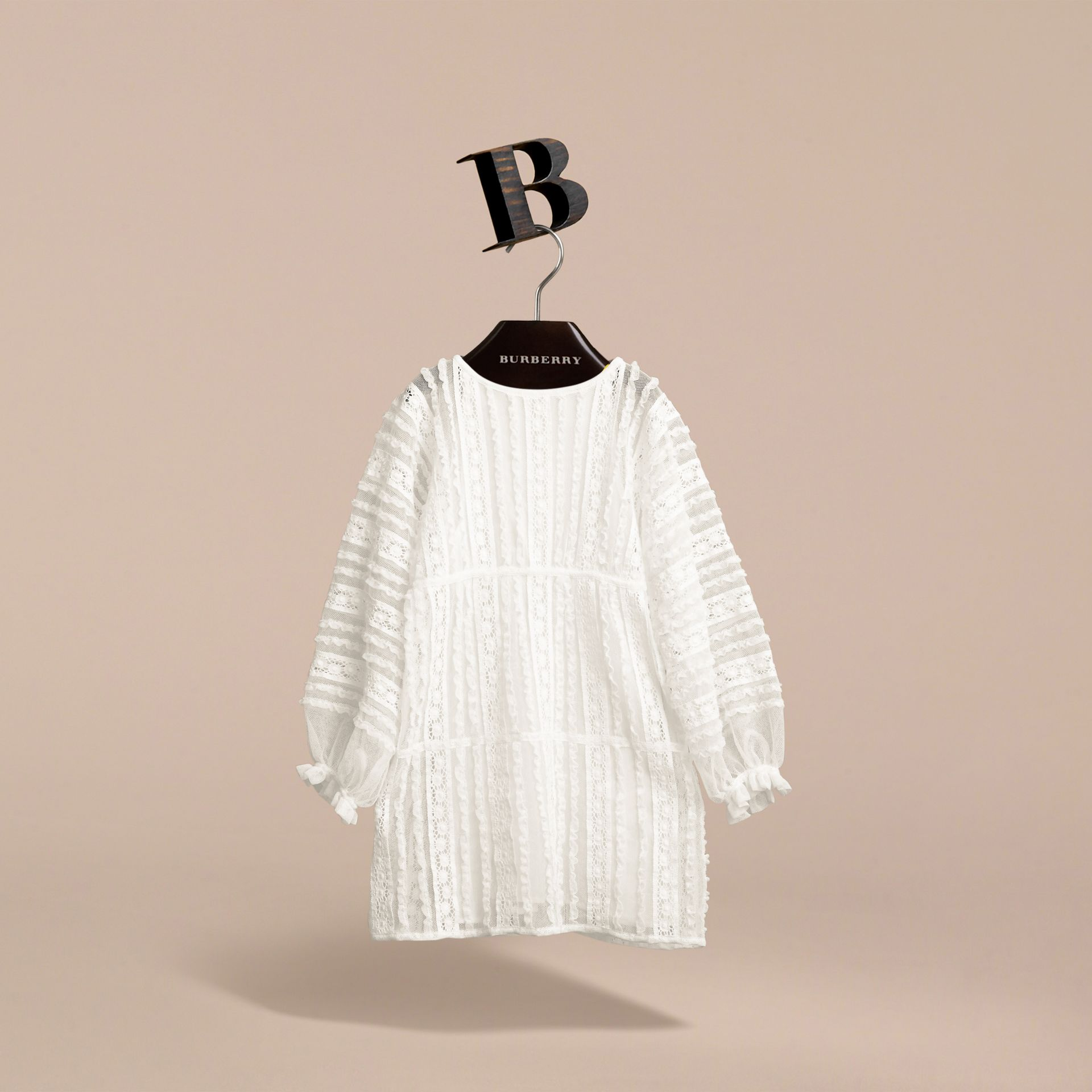 Lace Trim Cotton Dress in White | Burberry - gallery image 4