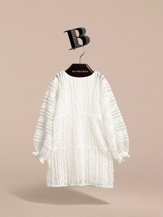 Lace Trim Cotton Dress in White | Burberry - cell image 3
