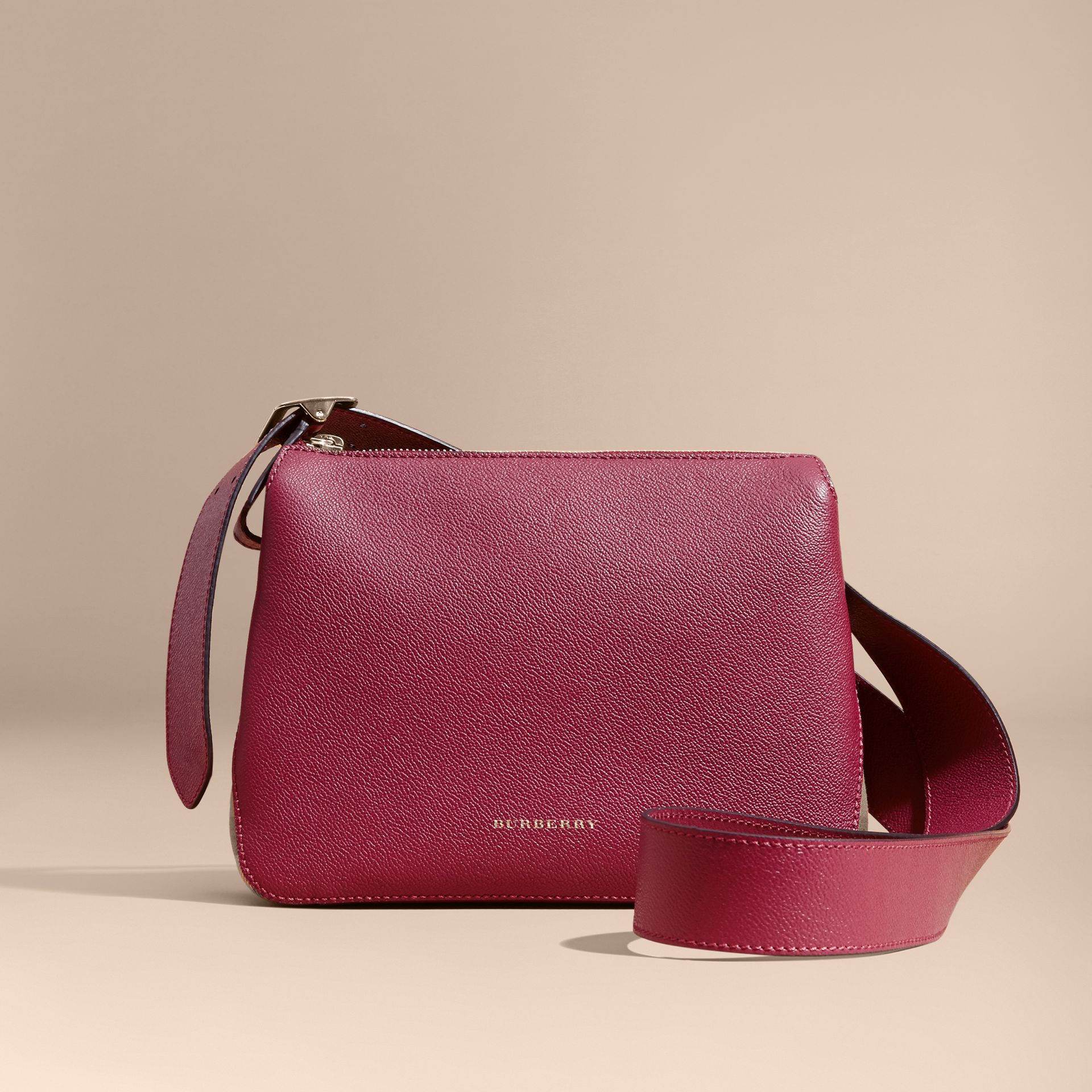 Buckle Detail Leather and House Check Crossbody Bag in Dark Plum - Women | Burberry - gallery image 8