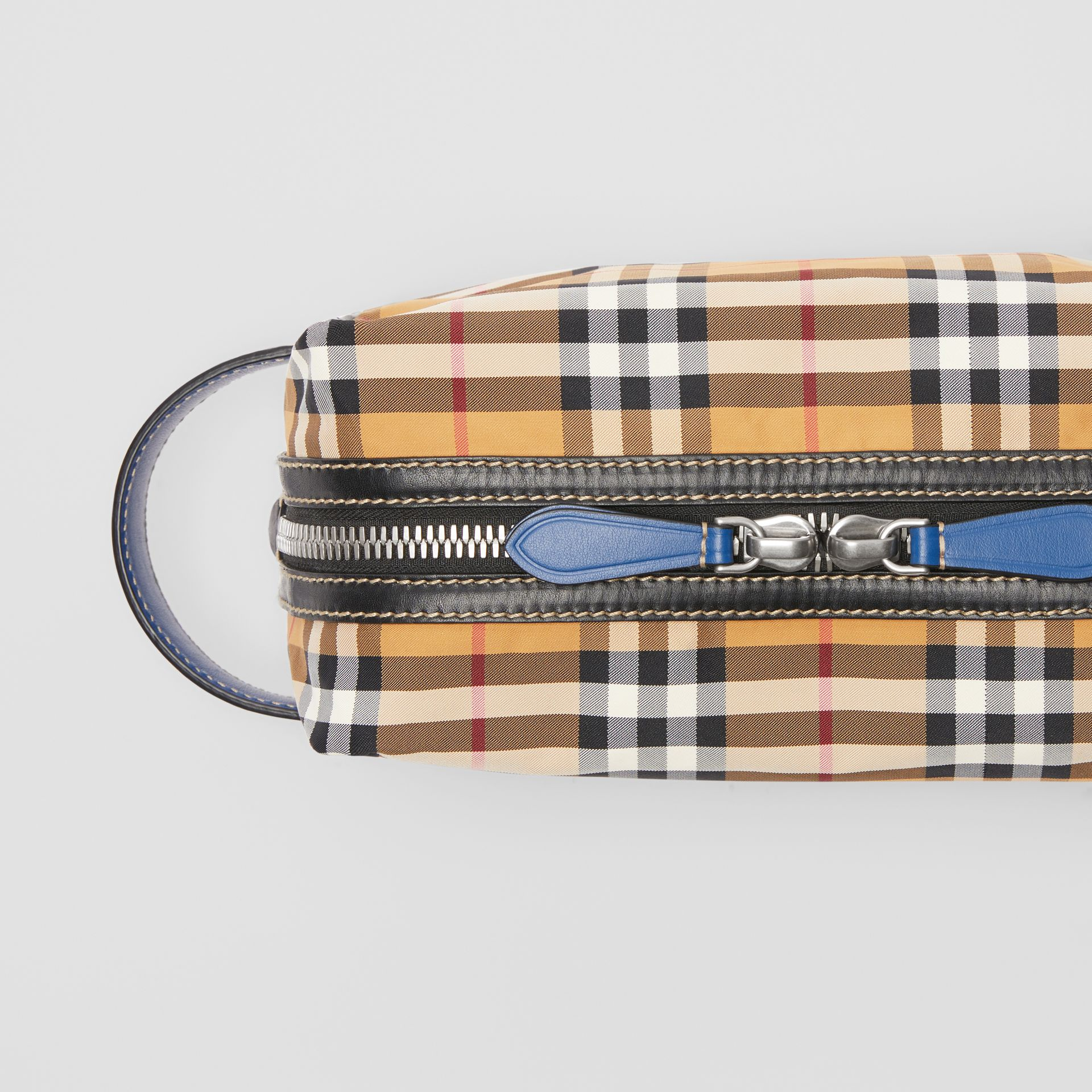 Vintage Check and Leather Pouch in Antique Yellow - Men | Burberry Australia - gallery image 1