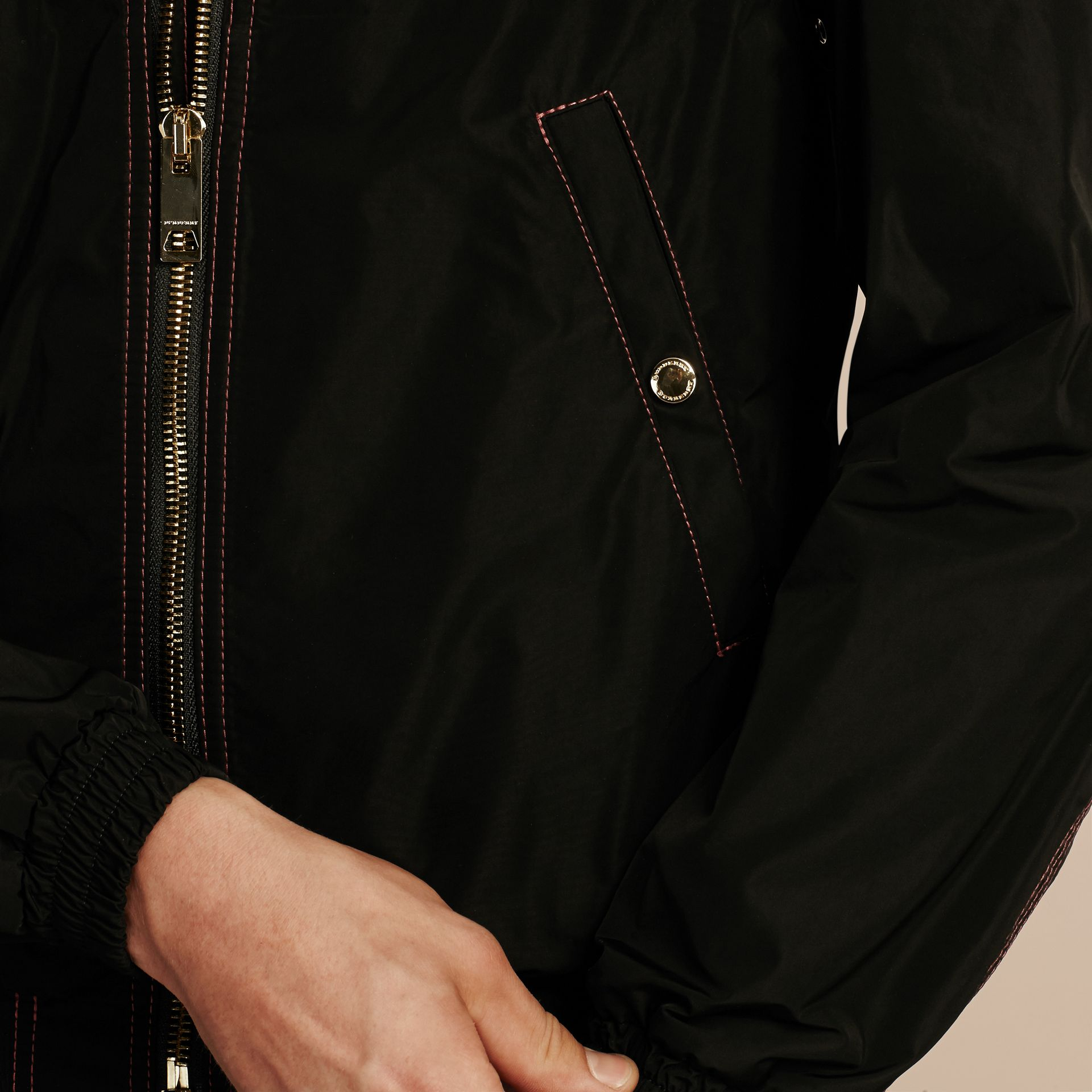 Black Lightweight Topstitch Detail Taffeta Bomber Jacket - gallery image 6
