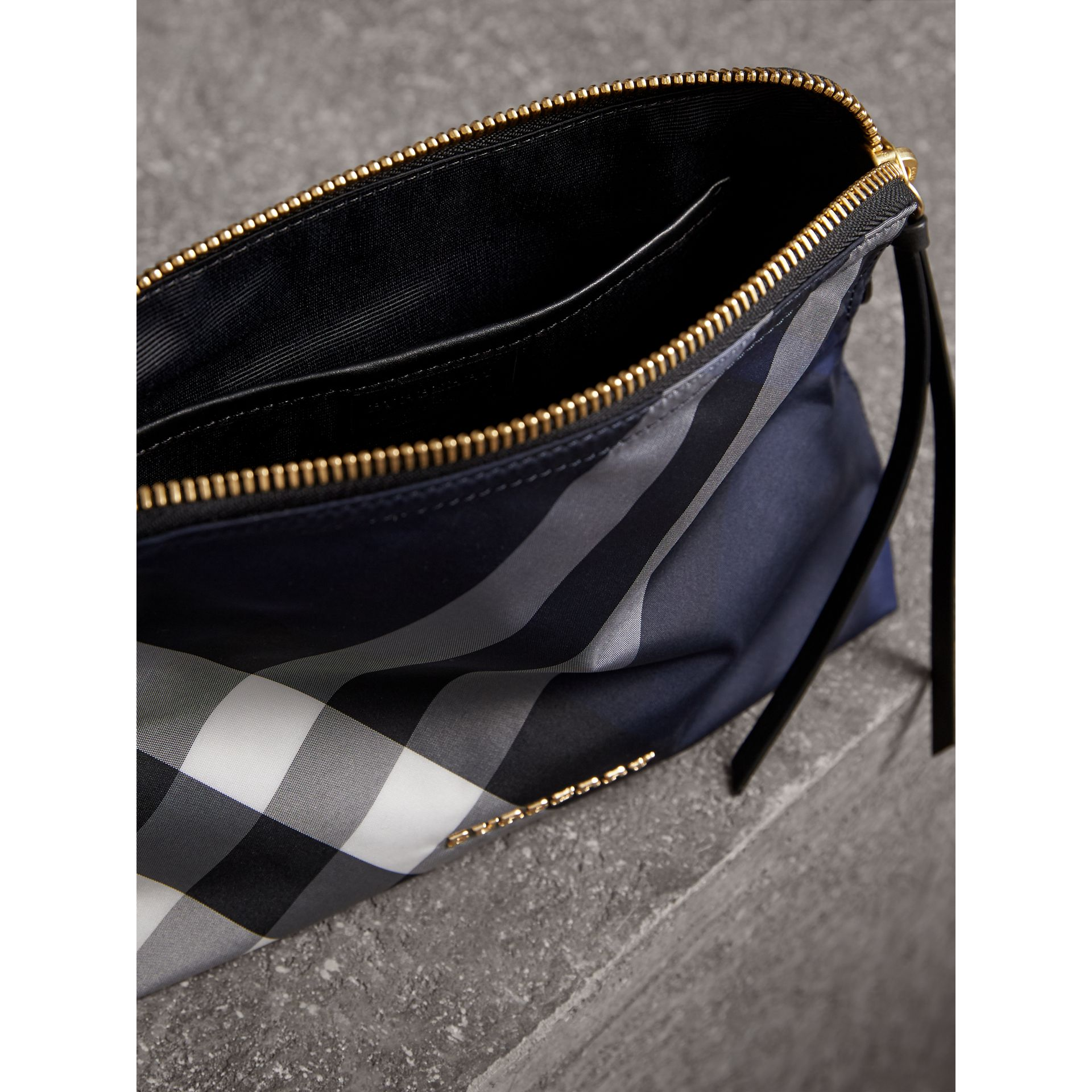 Large Zip-top Check Pouch in Indigo Blue - Women | Burberry Canada - gallery image 4