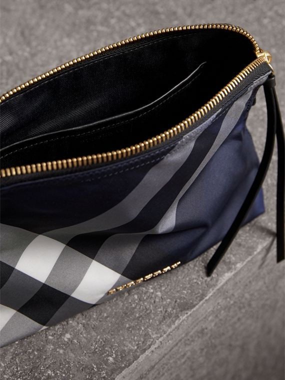 Large Zip-top Check Pouch in Indigo Blue - Women | Burberry - cell image 3