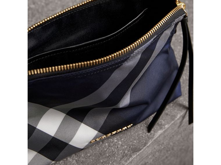Large Zip-top Check Pouch in Indigo Blue - Women | Burberry Australia - cell image 4