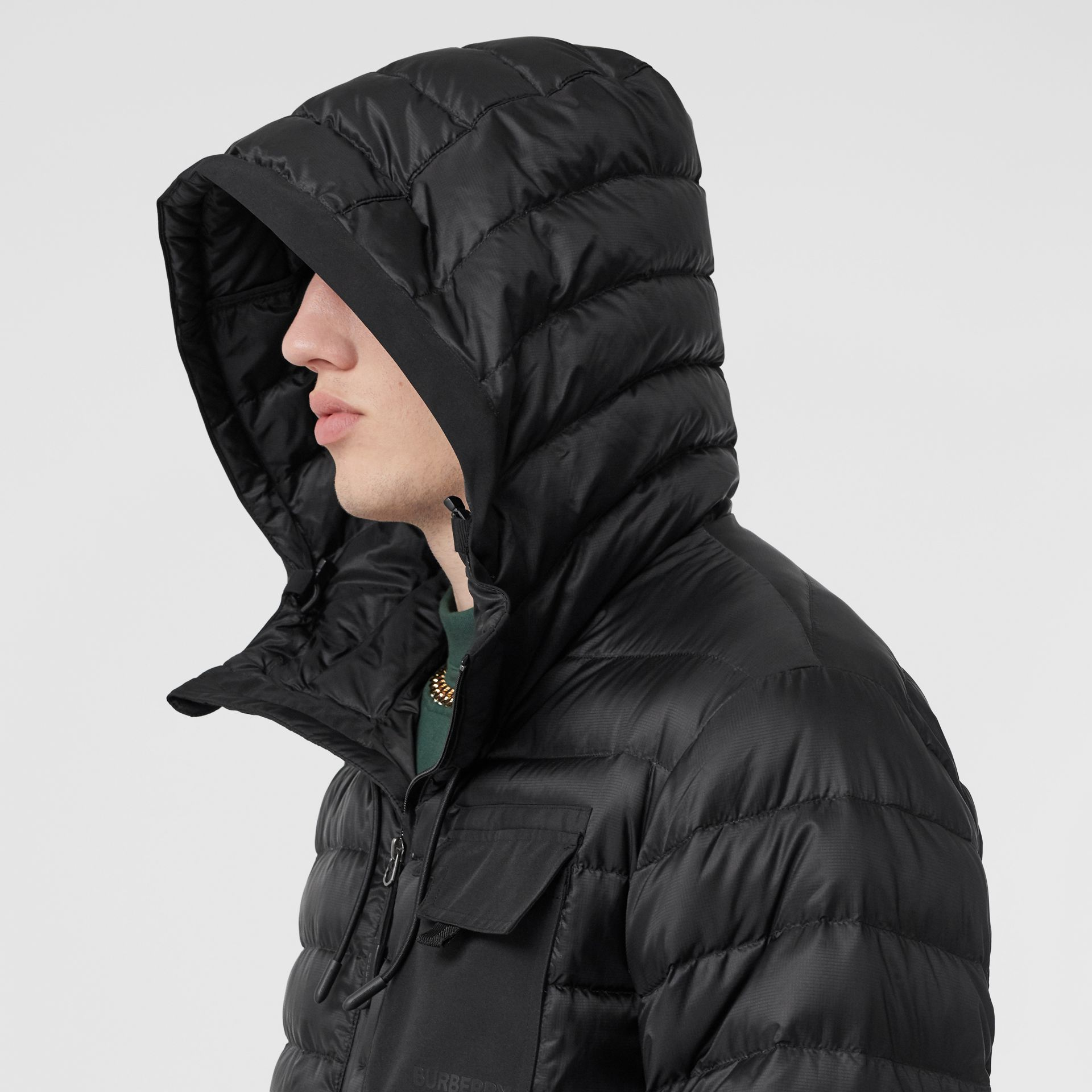 Down-filled Hooded Puffer Jacket in Black - Men | Burberry - gallery image 4