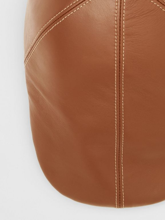 Lambskin Flat Cap in Tan | Burberry Canada - cell image 1