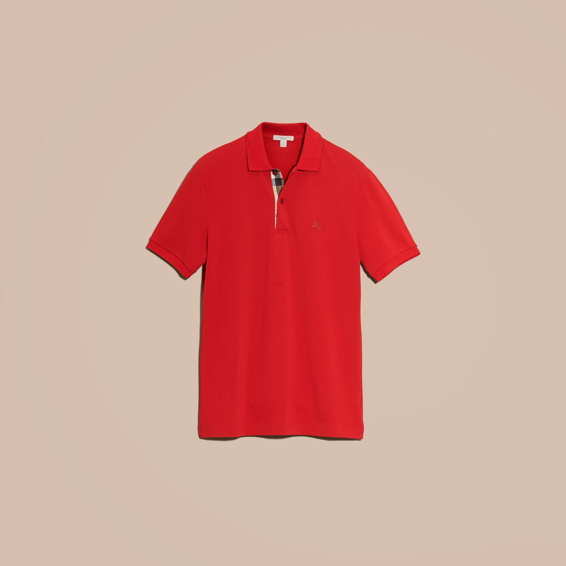 Check Placket Cotton Piqué Polo Shirt in Military Red - gallery image 4