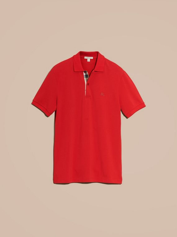 Check Placket Cotton Piqué Polo Shirt in Military Red - cell image 3