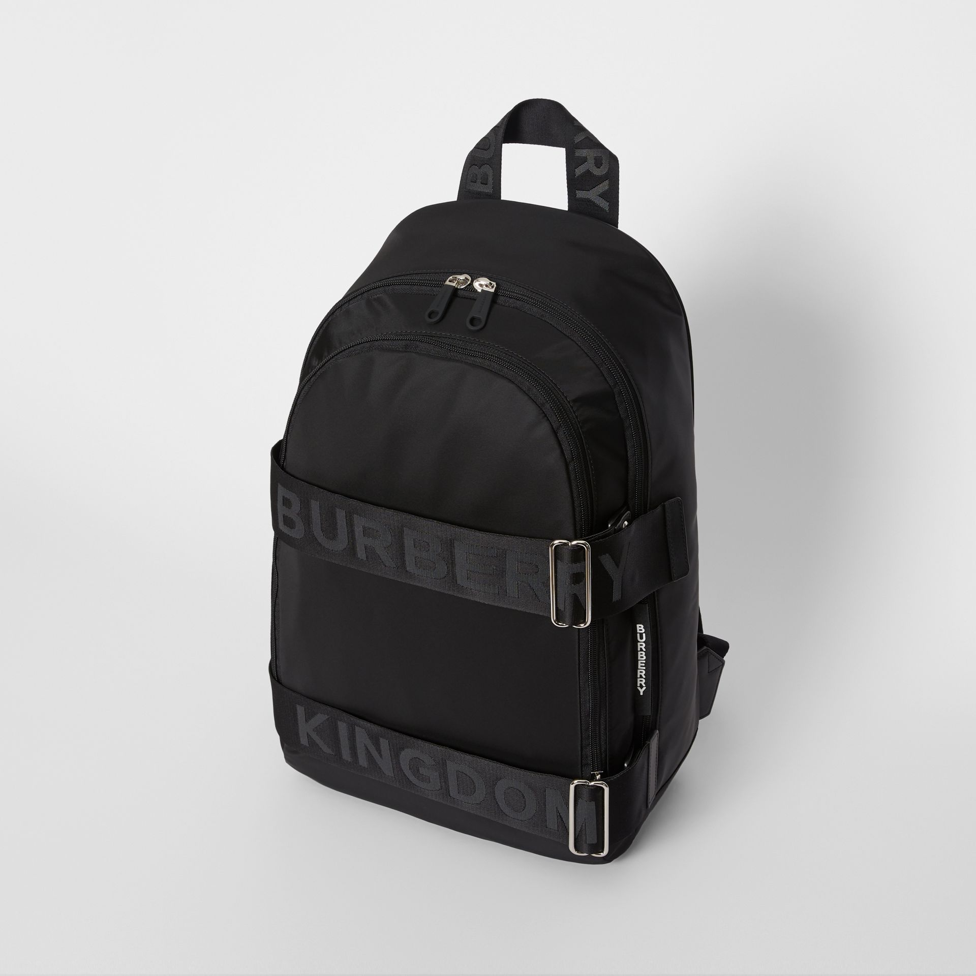 Large Logo Detail Nylon Backpack in Black - Men | Burberry Australia - gallery image 3