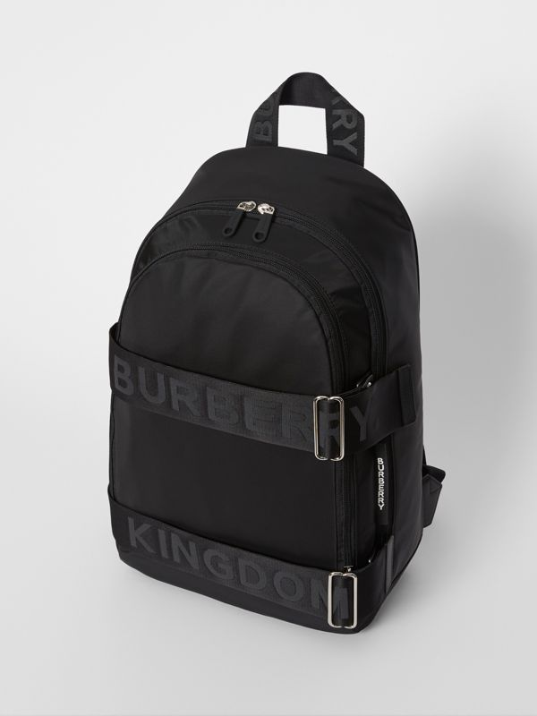 Large Logo Detail Nylon Backpack in Black - Men | Burberry - cell image 3