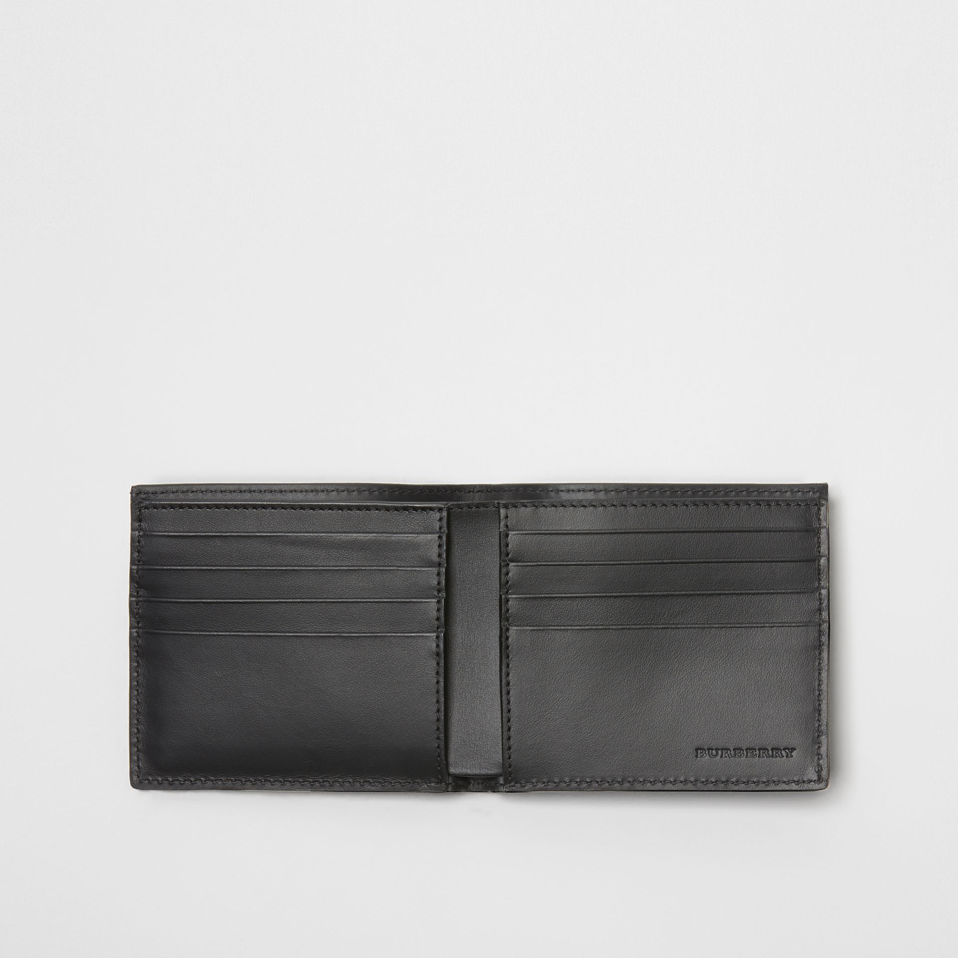 Perforated Check Leather International Bifold Wallet in Black - Men | Burberry Canada - gallery image 2