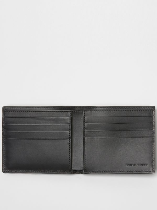 Perforated Check Leather International Bifold Wallet in Black - Men | Burberry Australia - cell image 2