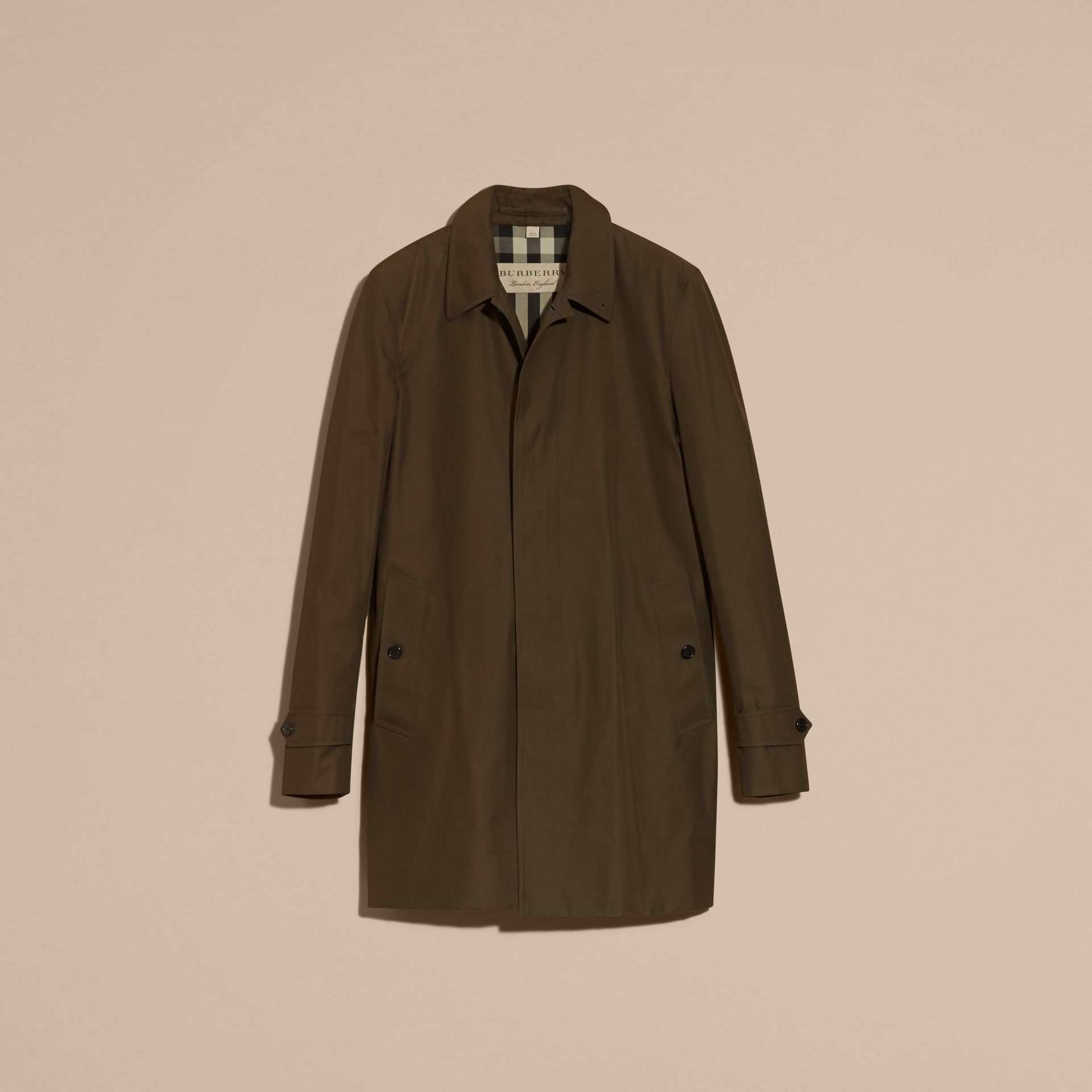 Dark khaki green Cotton Gabardine Car Coat Dark Khaki Green - gallery image 4