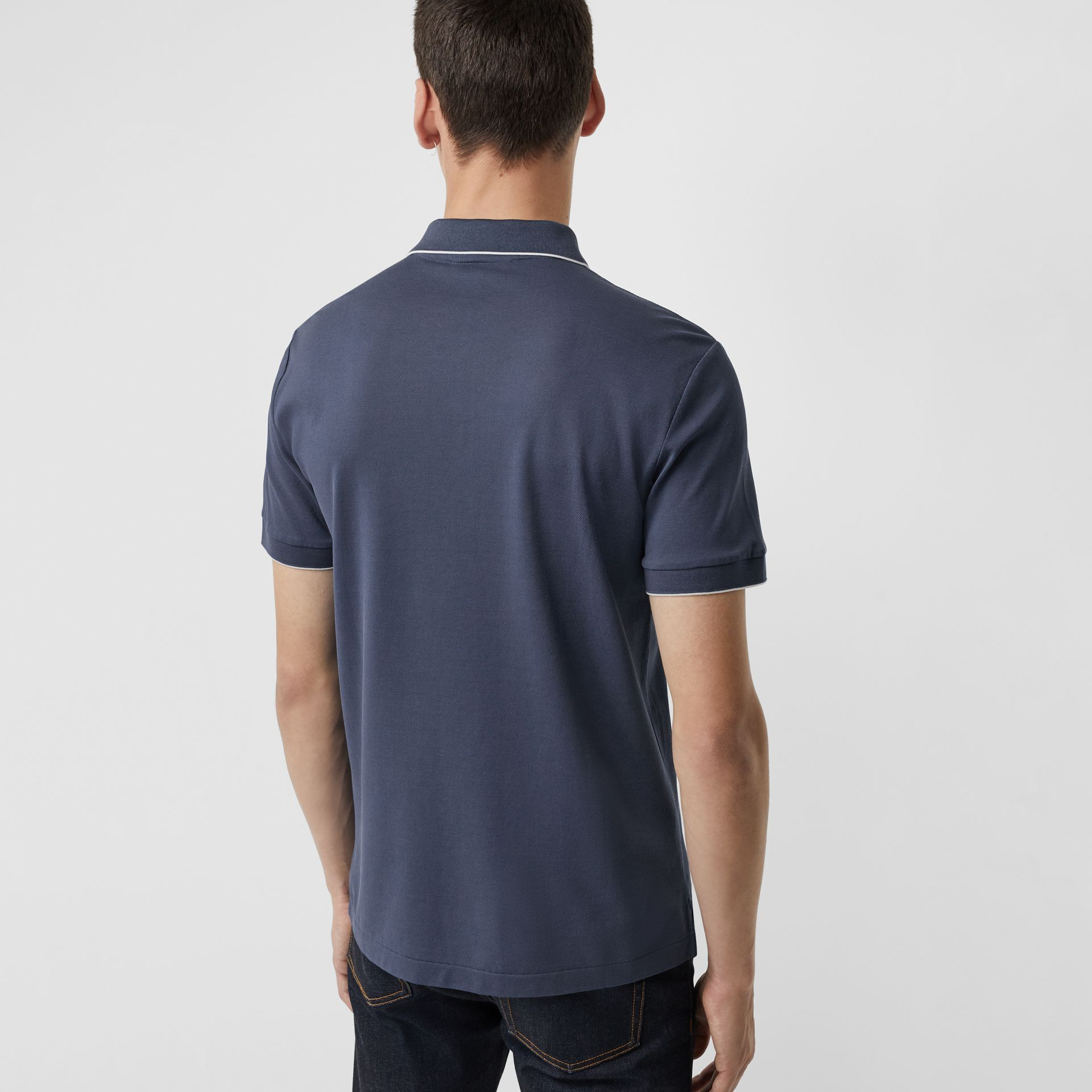 Tipped Cotton Piqué Polo Shirt in Steel Blue - Men | Burberry Canada - gallery image 2