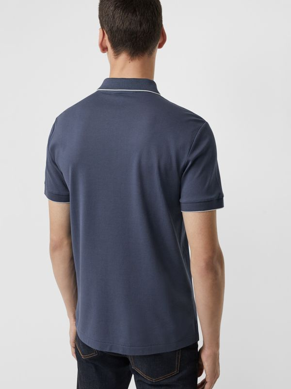 Tipped Cotton Piqué Polo Shirt in Steel Blue - Men | Burberry - cell image 2