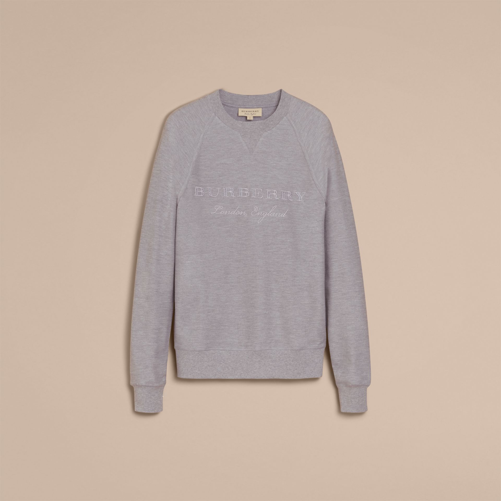 Embroidered Motif Cotton-blend Jersey Sweatshirt Mid Grey Melange - gallery image 4