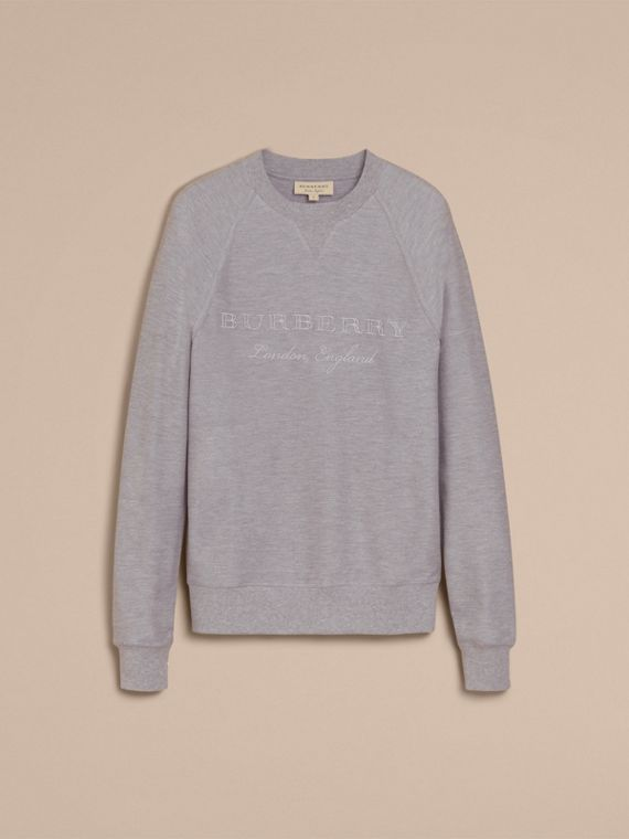 Embroidered Motif Cotton-blend Jersey Sweatshirt Mid Grey Melange - cell image 3