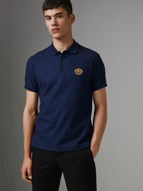 Archive Logo Cotton Piqué Polo Shirt in Navy