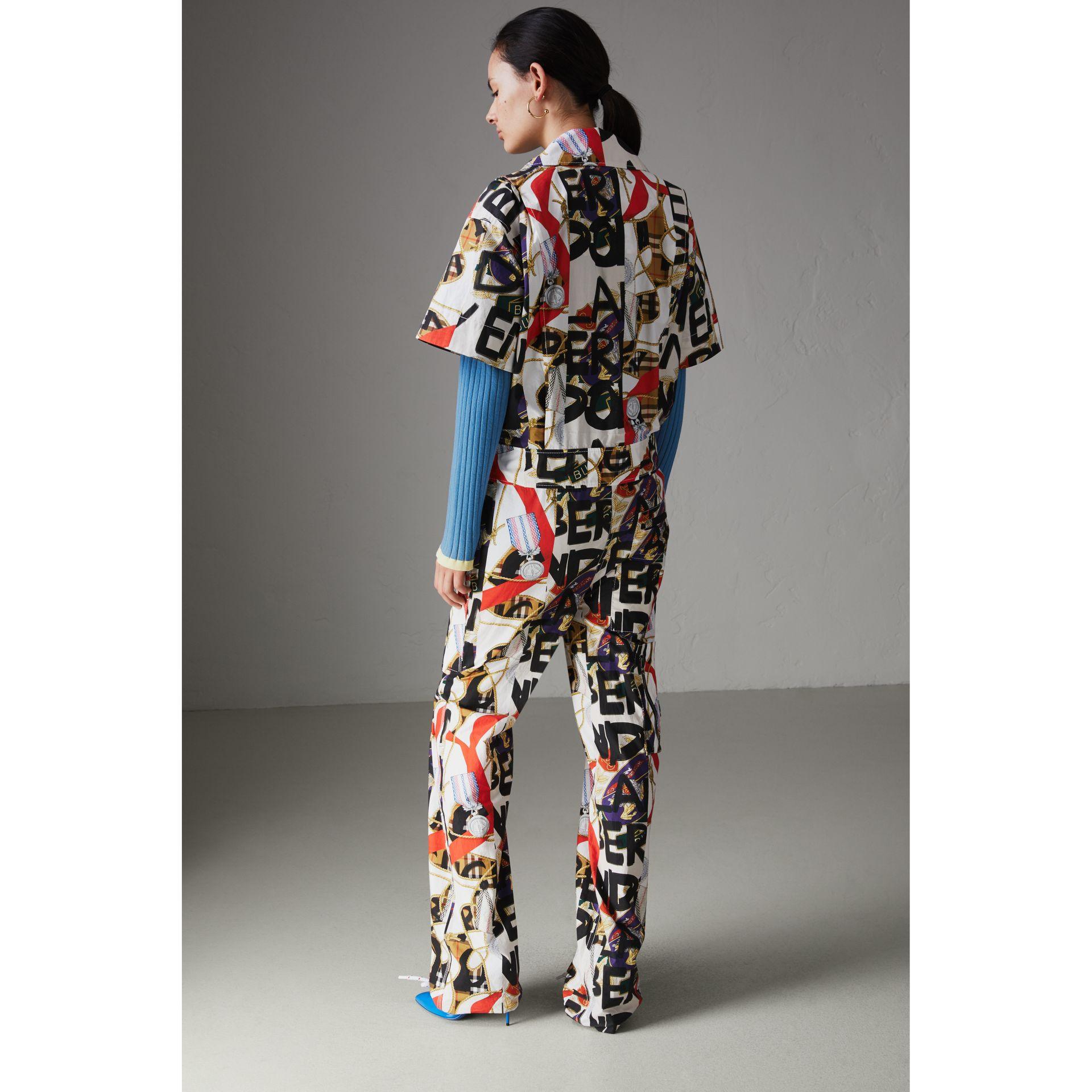 Graffiti Archive Scarf Print Cotton Jumpsuit in Stone - Women | Burberry Singapore - gallery image 2