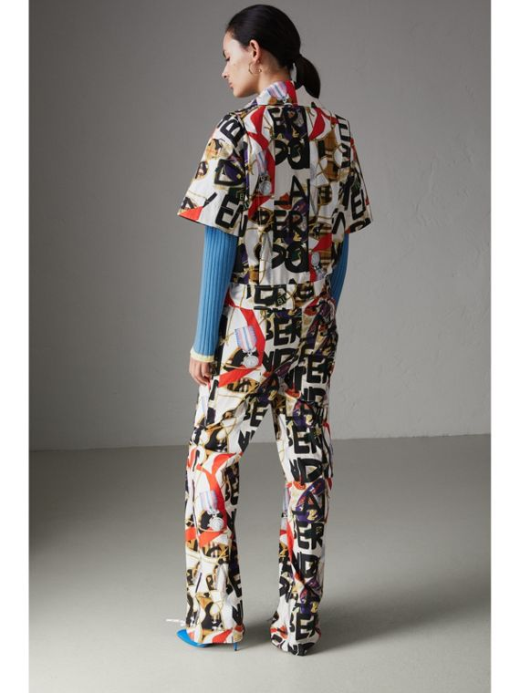 Graffiti Archive Scarf Print Cotton Jumpsuit in Stone - Women | Burberry - cell image 2