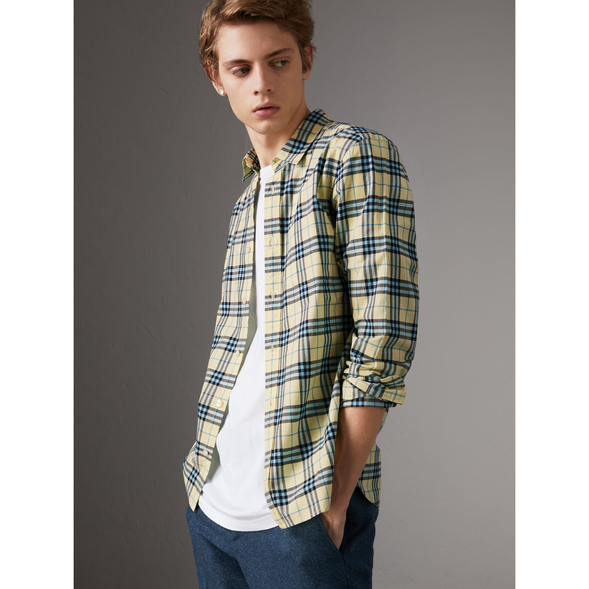 Check Cotton Shirt in Chalk Yellow - Men | Burberry United Kingdom - gallery image 0