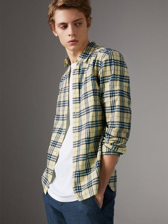 Check Cotton Shirt in Chalk Yellow
