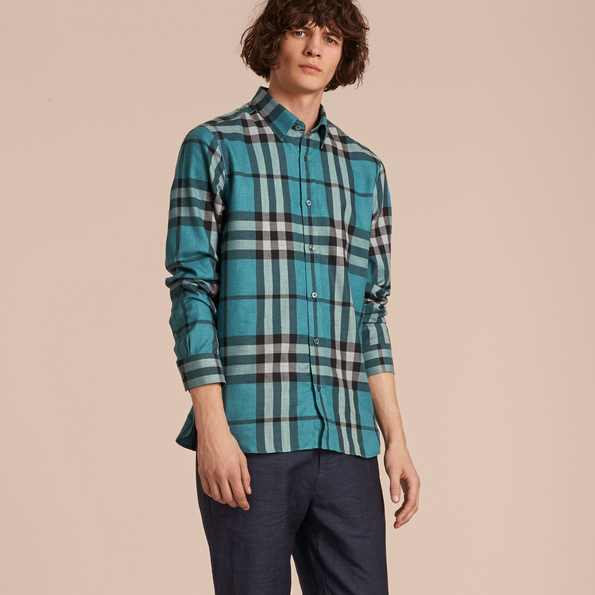 Check Cotton Cashmere Flannel Shirt in Bright Turquoise - gallery image 6