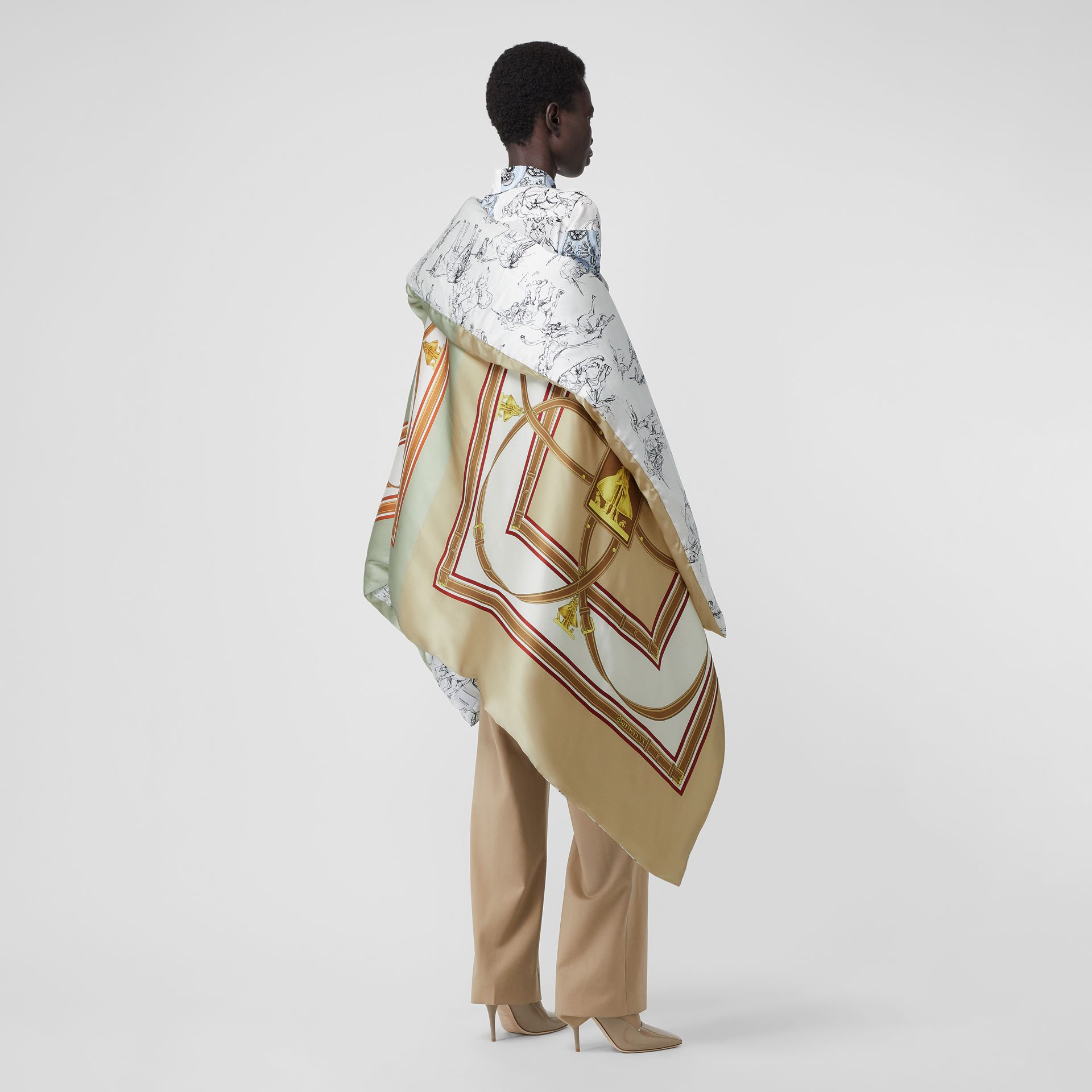 Unicorn Sketch Print Silk Satin Oversized Puffer Cape in Multicolour - Women | Burberry - gallery image 2