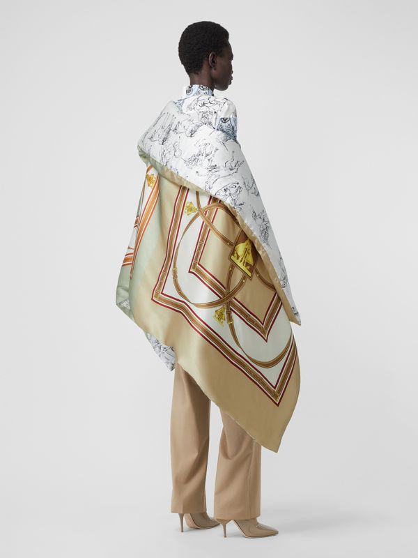 Unicorn Sketch Print Silk Satin Oversized Puffer Cape in Multicolour - Women | Burberry - cell image 2