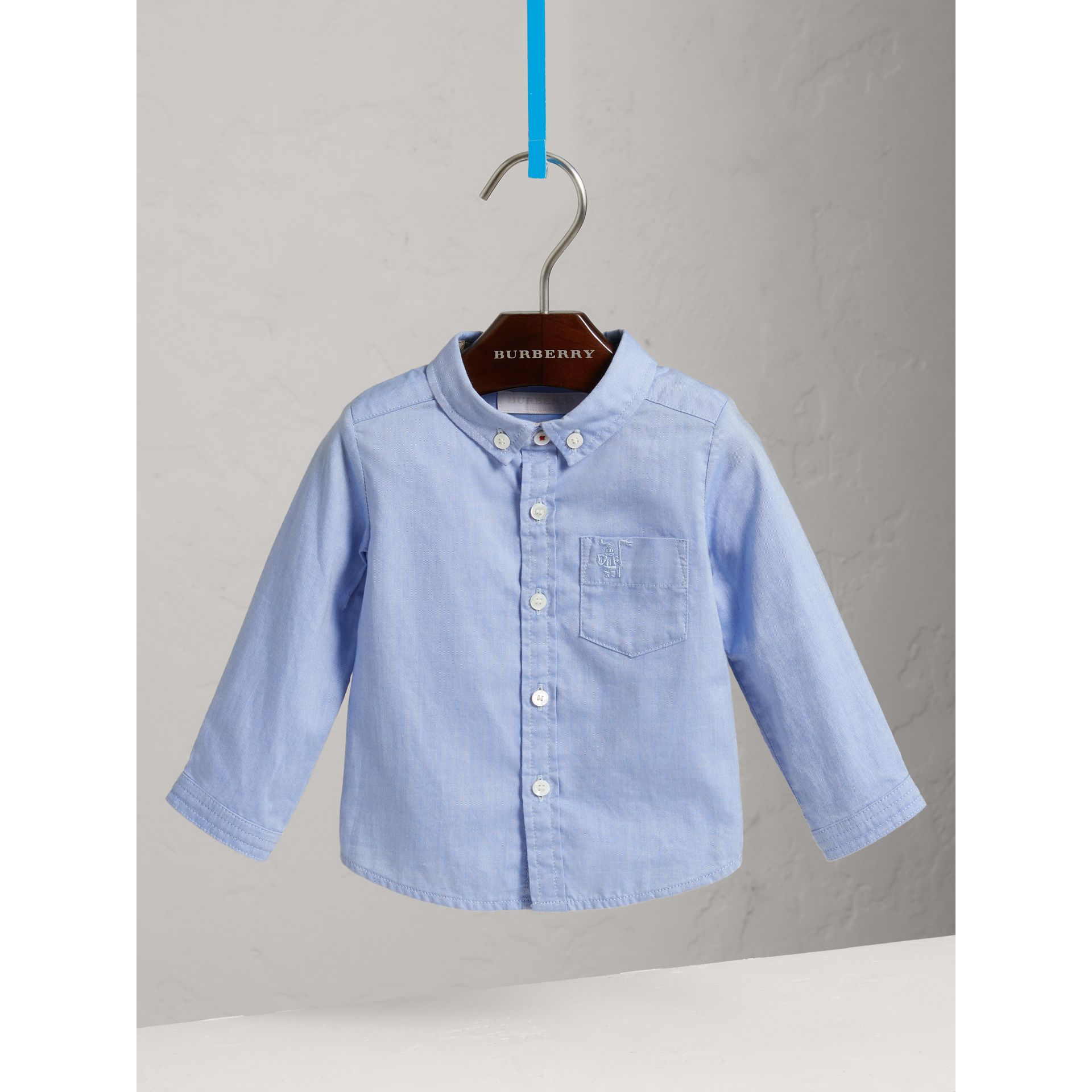 Chemise Oxford en coton (Bleu Barbeau) - Enfant | Burberry - photo de la galerie 0