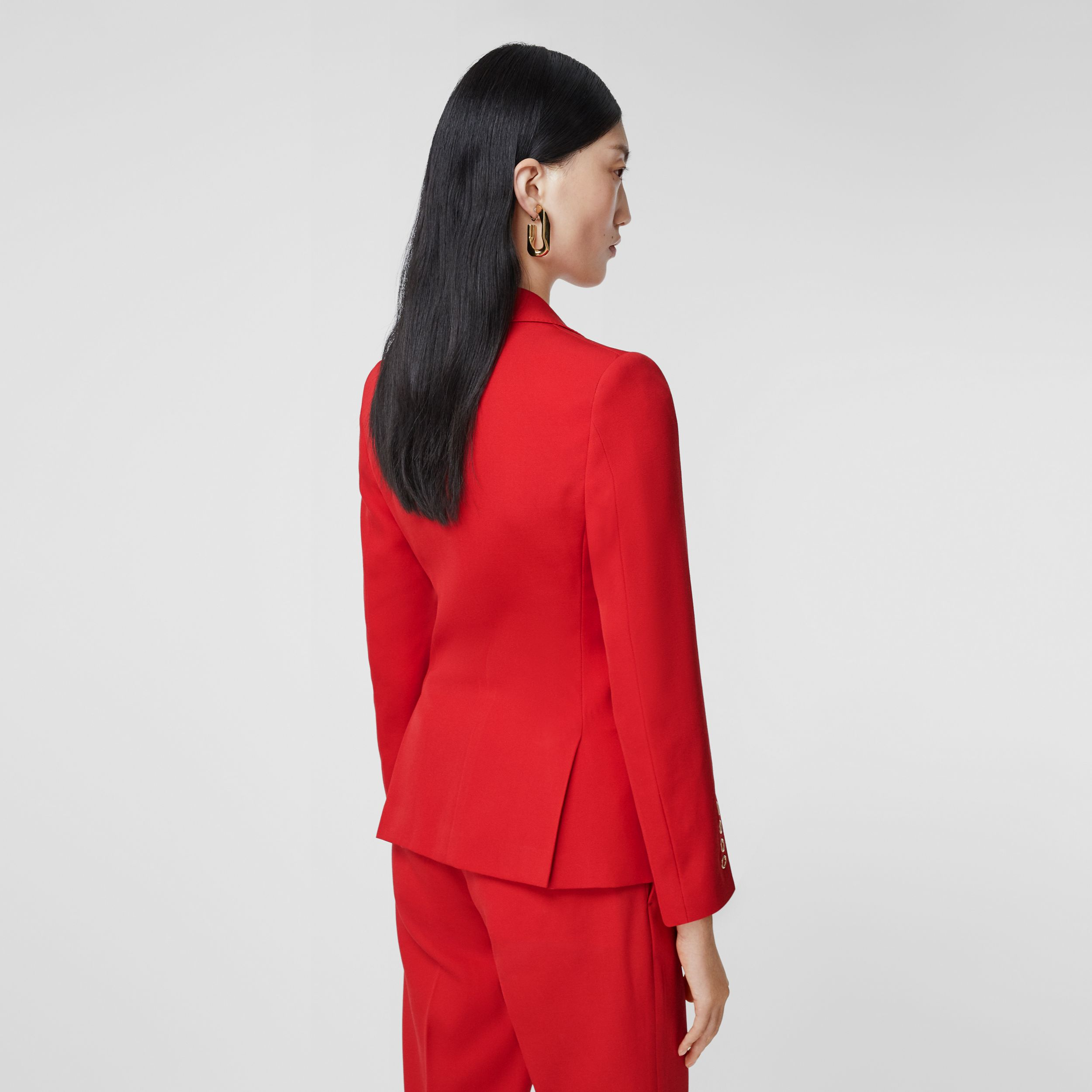 Waistcoat Panel Wool Tailored Jacket in Bright Red - Women | Burberry - 3