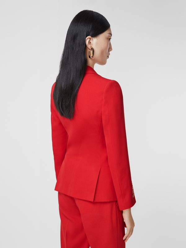 Waistcoat Panel Wool Tailored Jacket in Bright Red - Women | Burberry - cell image 2
