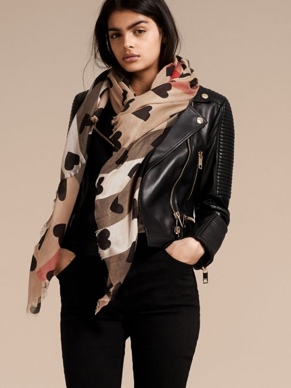 Heart and Check Modal and Cashmere Scarf in Camel/black - cell image 2