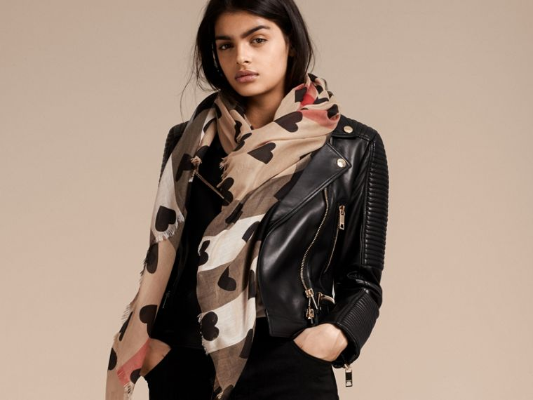 Heart and Check Modal and Cashmere Scarf in Camel/black - Women | Burberry United Kingdom - cell image 2