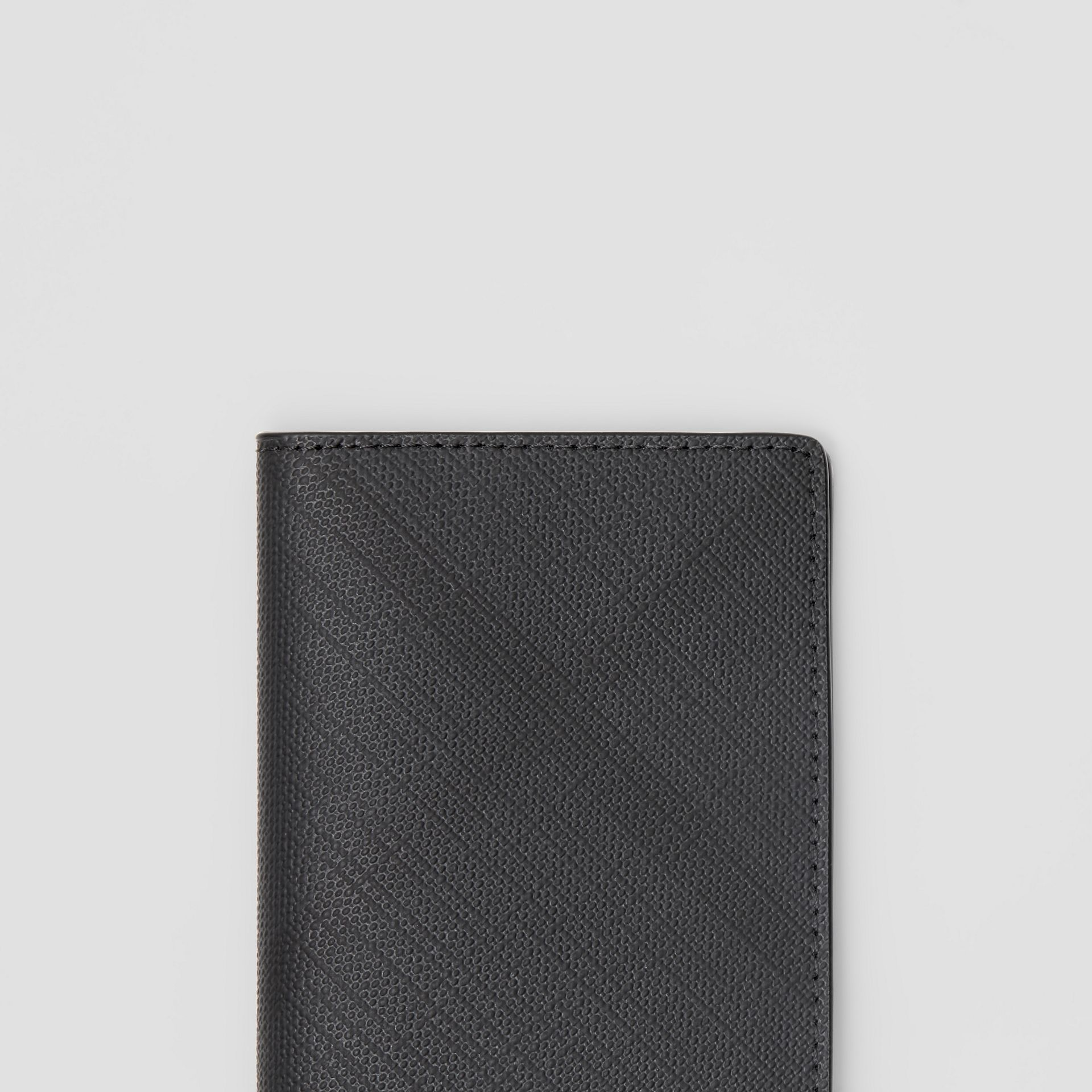 London Check and Leather Bifold Card Case in Dark Charcoal - Men | Burberry - gallery image 1