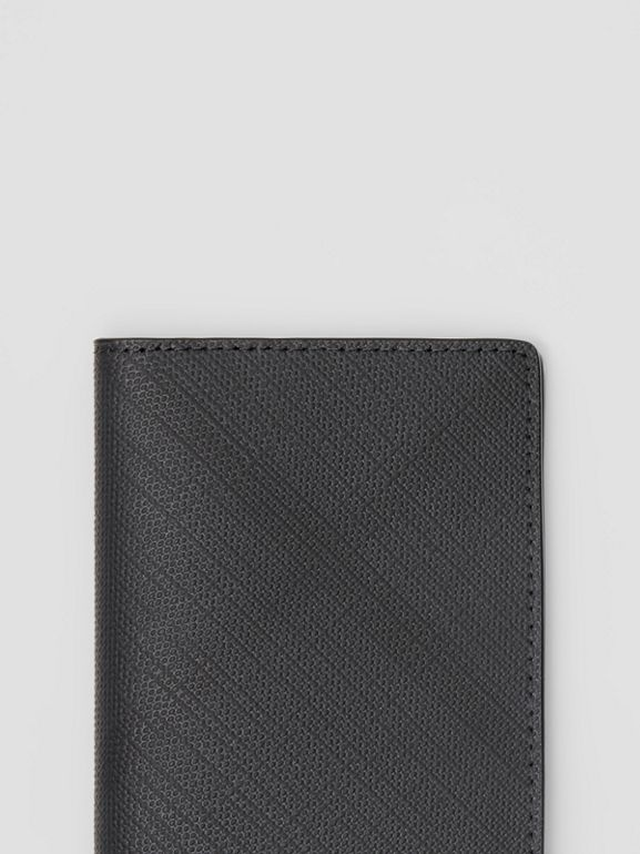 London Check and Leather Bifold Card Case in Dark Charcoal - Men | Burberry - cell image 1