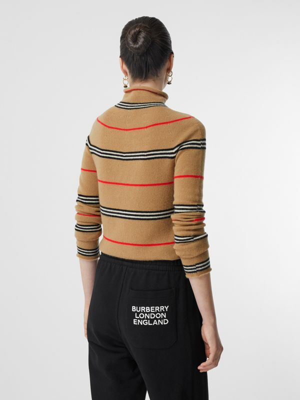 Icon Stripe Cashmere Turtleneck Sweater in Archive Beige - Women | Burberry Hong Kong S.A.R - cell image 2