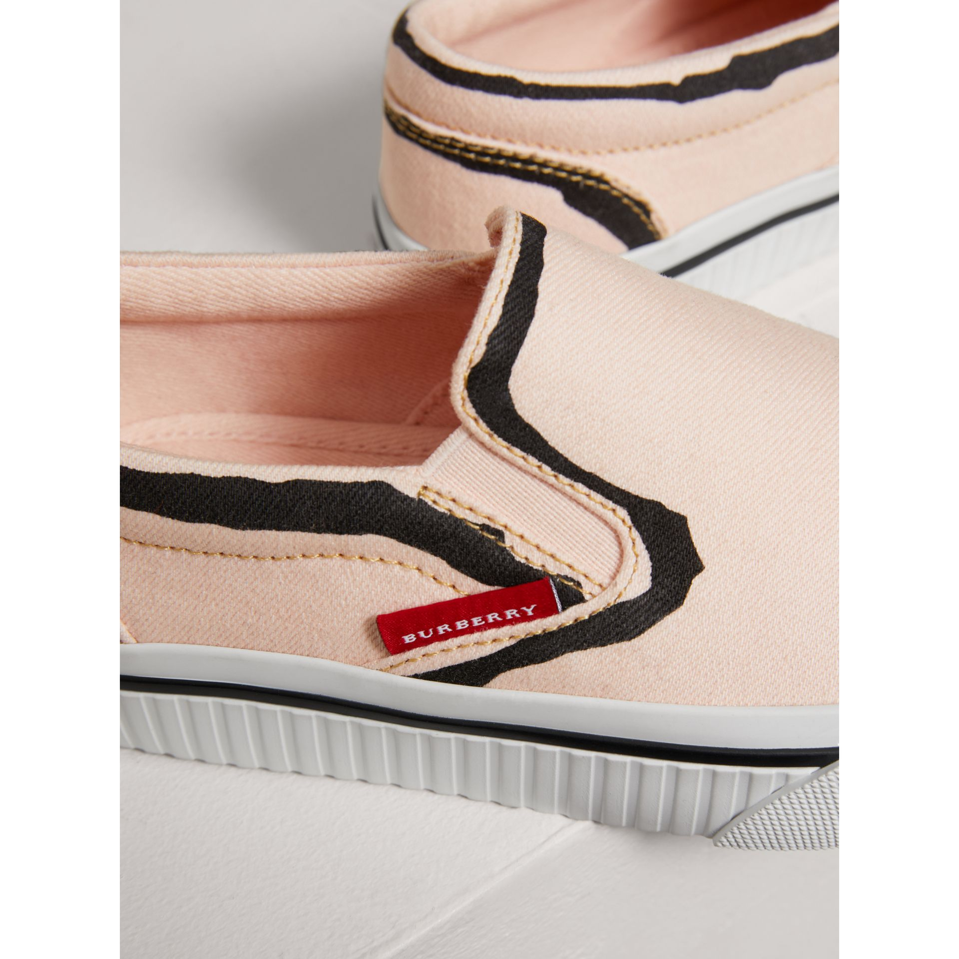 Scribble Print Slip-on Sneakers in Pale Rose Pink | Burberry Canada - gallery image 1