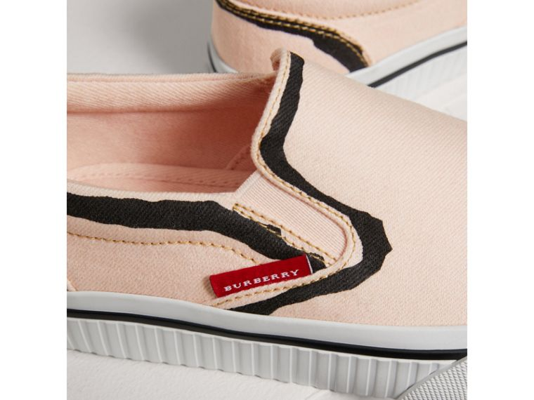 Scribble Print Slip-on Sneakers in Pale Rose Pink | Burberry United Kingdom - cell image 1
