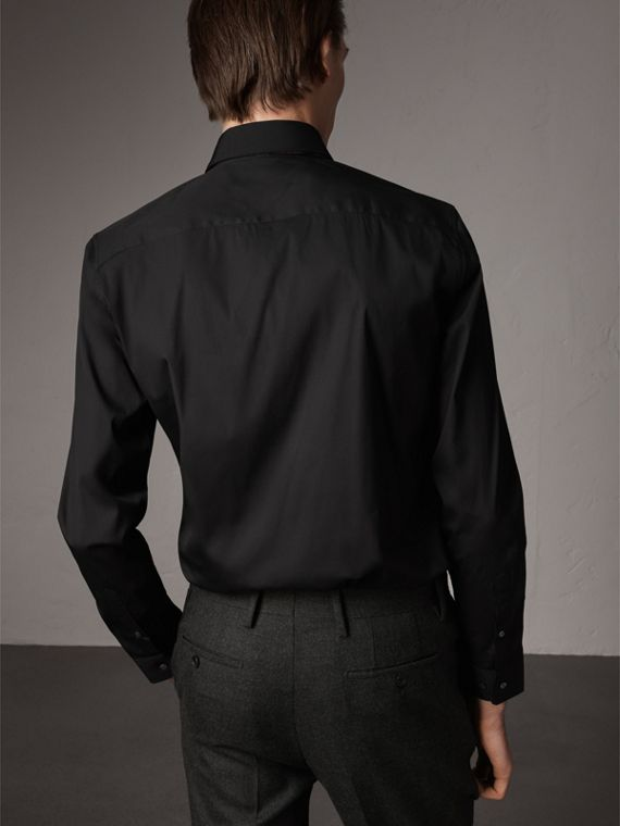 Slim Fit Stretch Cotton Shirt in Black - Men | Burberry - cell image 2