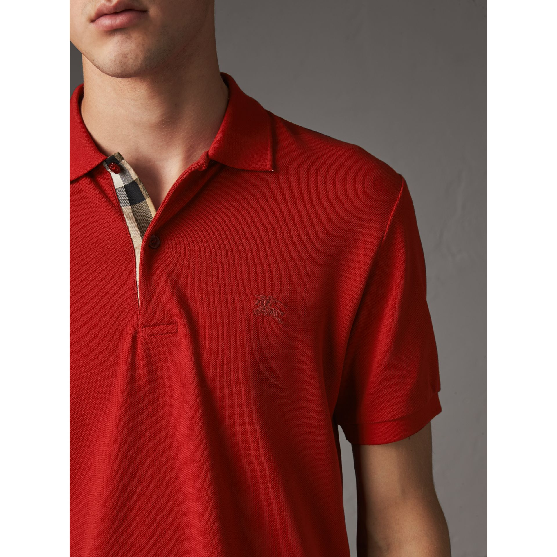 Check Placket Cotton Piqué Polo Shirt in Military Red - Men | Burberry - gallery image 1