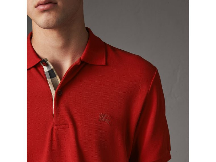 Check Placket Cotton Piqué Polo Shirt in Military Red - Men | Burberry - cell image 1
