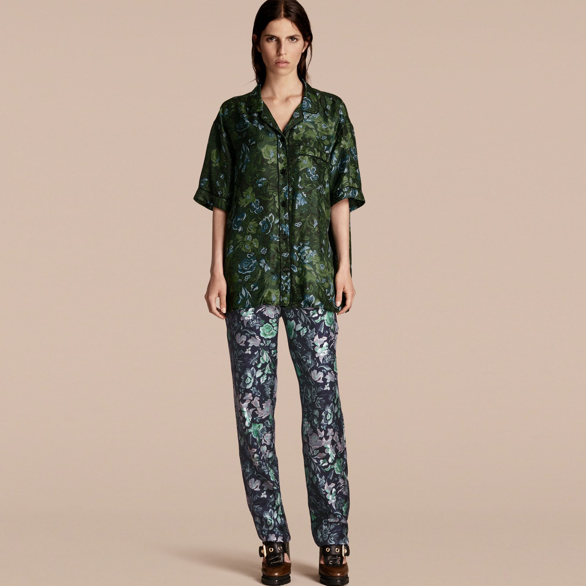 Forest green Short-sleeved Floral Print Silk Pyjama-style Shirt Forest Green - gallery image 6
